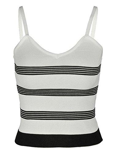 CHIC DIARY Damen Frauen basic shirt casual gestrickt Cami Tank Top Oberteil gestreift Design Weiß