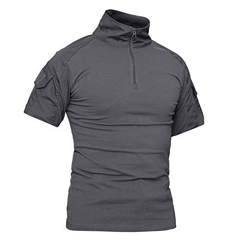 KEFITEVD Kurzarm Shirt Herren Camouflage US Army Hemd Funktionsshirt Militärkleidung Tactical Camo Shirt Flecktarn Laushirt Sommer Angeln Grau 2XL (Etikett: 5XL) Bdu Woodland Camo