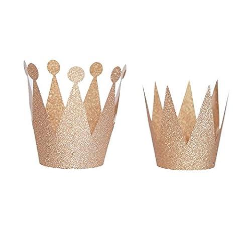 HCFKJ 6Pcs Papier Enfants Adulte Chapeaux Casquette Couronne Prince Princesse DéCoration FêTe (Or rose)
