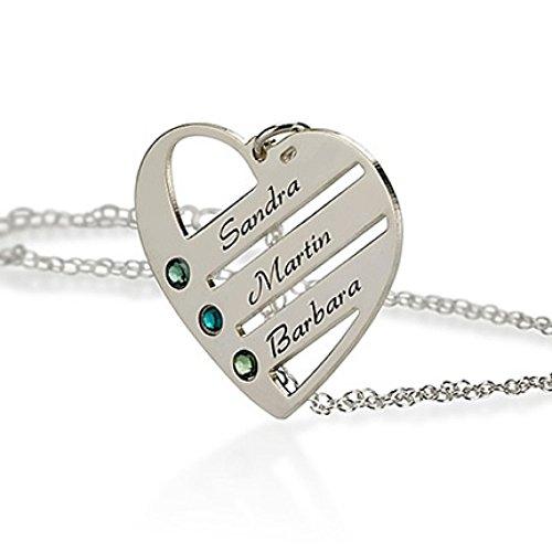 Silber-Herz-Anhnger-mit-Swarovski-Kristall-Halskette-Mutter-Halskette-Personalisiert-mit-Ihrem-eigenen-Name-3-Namen