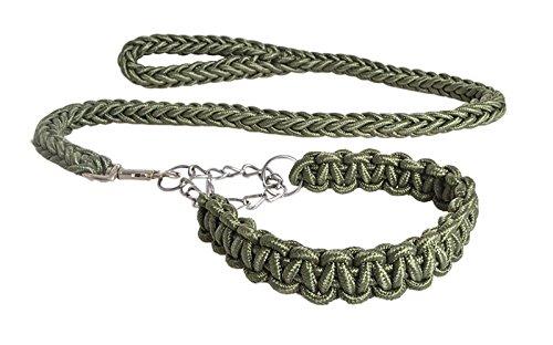 Fandecie La formazione di piombo Heavy Duty nylon intrecciato guinzaglio a catena della corda del cane con respingente a molla per medie e grandi cani