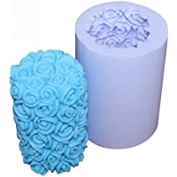 Allforhome rose moules en silicone de bougie rose à la main de forme moules bougie Artisanat Moules bricolage (finition taille de la bougie: 4,5 cmx4.5 cmx6.8cm)