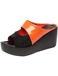 99308896a15 Likecrazy Femmes Sandales Pantoufles Compensées Imperméable Fishmouth  Sandales Pantoufles Slips épais Pantoufles Peep Toe Sandale de