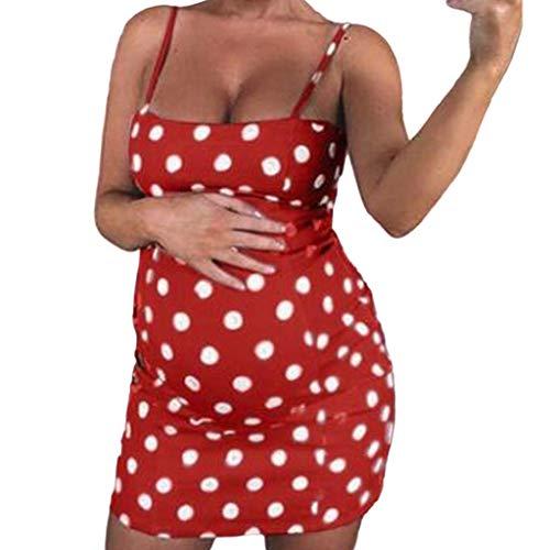 Mutterschaft Kleid Sling Polka Dot Mutterschaft schwanger ärmellose Pflege Boho Minikleid Rot M ()