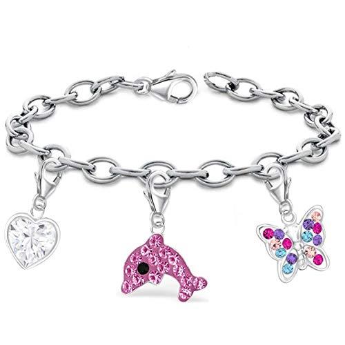 14-22cm Armband mit Charm 925 Echt Sterling Silber Anhänger Damen Kinder Mädchen (4-er Set 2, 16) - Charm Silber Baby Sterling Girl