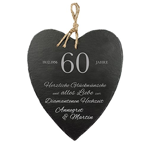 vur zur Diamantenen Hochzeit - Herzliche Glückwünsche - Personalisiert mit Namen und Datum - Wanddeko mit Jute-Band zum Aufhängen als Geschenk-Idee zum 60. Hochzeitstag ()