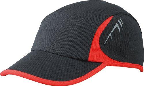 Myrtle Beach Uni Cap Running 4 Panel, black/red, One size, MB6544 blrd