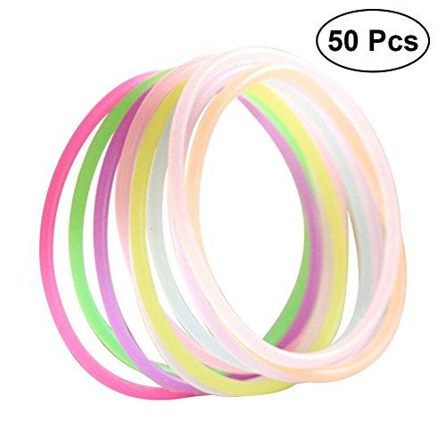 Toyvian 50 stücke Glow Stick Armband Gelee Armbänder für Kinder (Zufällige Farbe)