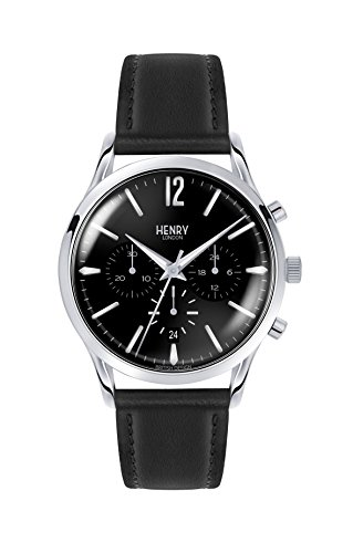 Henry London Unisex Chronograph Quarz Uhr mit Leder Armband HL41-CS-0023