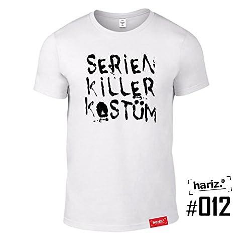 #KARNEVAL: Original HARIZ® Collection T-Shirt // 36 Designs wählbar // Weiss, S-XXL // Fasching I Halloween I Altweiberfastnacht I Verkleidung #Karneval12: Serien Killer Kostüm (Kostüm Made T Shirts)