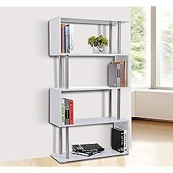 Libreria 145x80x30cm Madera y Metal Muebles Oficina Estanteria Estante Blanco