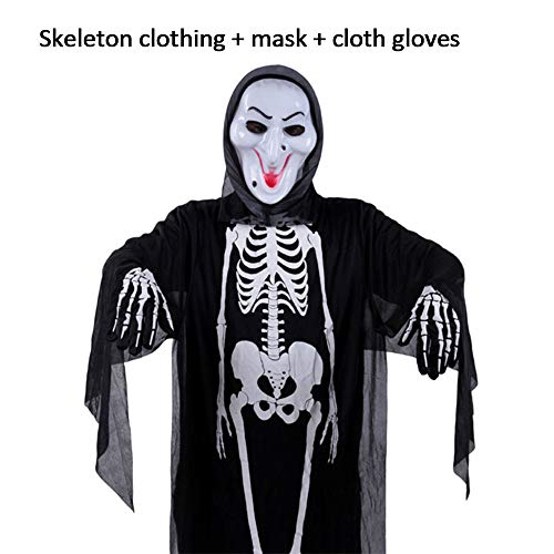 gertong Halloween-Kostüm Skelett Ghost Bademantel Kleidung mit Handschuhe -