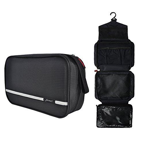 Beauty case da viaggio, jiemei borsa per toilette - uomini e donne, con gancio e maniglia, materiale impermeabile, 2 appendiabiti portatili come regalo ( nero )