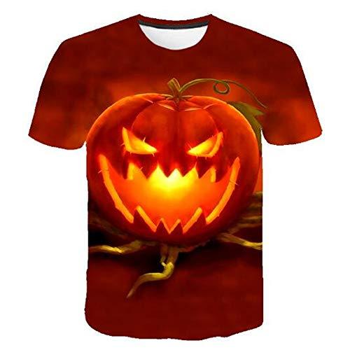 Herren Neuheit T-Shirt 2019 Sommer Casual Kurzarm 3D Digital Gedruckt T Shirt Tops Premium,3D Halloween Kürbis Gelb 4XL
