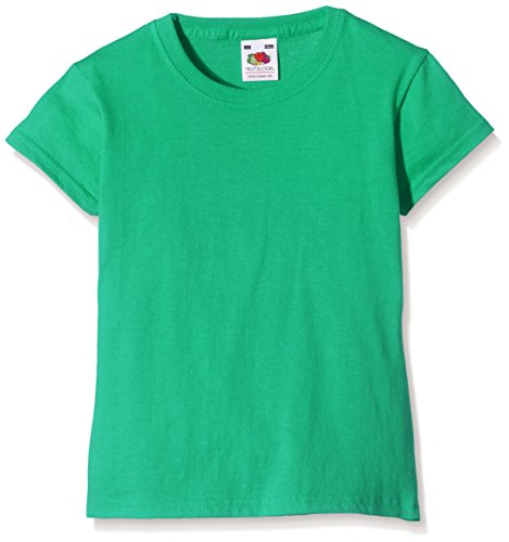 Fruit of the Loom Mädchen T-Shirt Valueweight, Green (Kelly Green)Gr. 5/6 Years (Herstellergröße: (Robin Hood Kostüme Für Frauen)