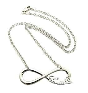 """Lovatic - Nouveau collier couleur argent à pendentif du signe de l'infini """"Lovatic(™)"""", chaîne à maillons, l.3 mm L.45,7 cm XC435R"""