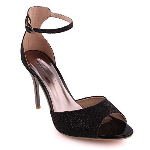 """Unze Le donne """"Caroline' Glittery cinturino alla caviglia metà bassa tacco alto parte Prom ottenere insieme il carnevale sera sandali tacco UK dimensioni 3-8 Nero"""