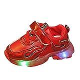 HDUFGJ LED Schuhe Kinder Beleuchtete Freizeitschuhe Mädchen Kinder Schuhe Nette Baby Mädchen Stiefel Leichtgewicht Laufschuhe Faule Schuhe Turnschuhe fitnessschuhe23 EU(rot)