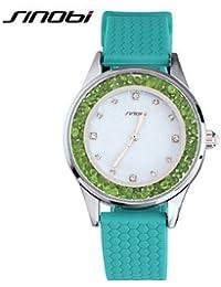 Relojes Hermosos, Mujer Reloj de Moda Cuarzo Resistente al Agua Silicona Banda Verde Marca- SINOBI ( Color : Verde , Género : Para Mujer )