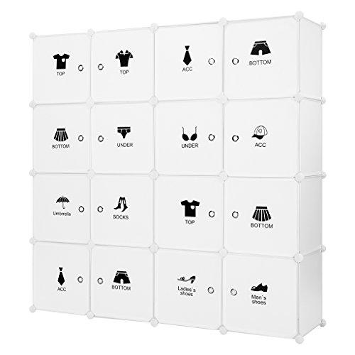 LANGRIA Regalsystem 16-Kubus DIY Modular Garderobenschrank Schuhschrank mit Aufkleber mit verschiedenen Kategorie-Icons Milchig Weiß
