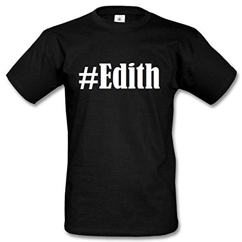 T-Shirt #Edith Hashtag Raute für Damen Herren und Kinder ... in den Farben Schwarz und Weiss Schwarz