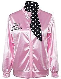 Pink Ladies 1950s Danny Chaqueta de Saten Pink con Panuelo de Lunares Abrigo Rosa para el