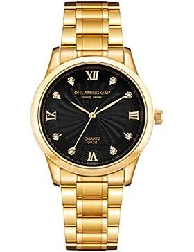 IP Herren-Armbanduhr, schwarzes Zifferblatt mit Strasssteinen, römische Zahlen, Stahl, vergoldet, Schwarz, 003