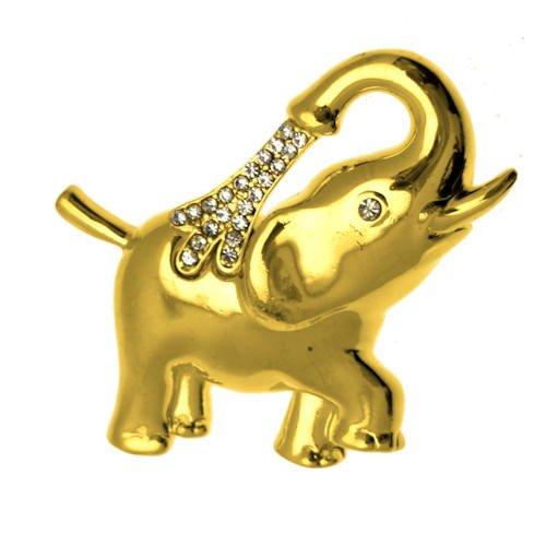 Farbige Schmuck Kostüm Gold - Acosta Jewellery-Gold Farbige mit Kristall Akzente-Kostüm Schmuck Elefanten Brosche