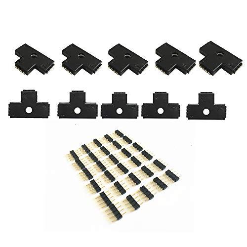 10pcs/pack Schwarz 4-polig 10mm T-Form 3-ends Female Connector LED Streifen T Form Verbinder, für LED Band Licht Ecke Verbinder LED RGB 5050 Flex Streifen Licht (T Form) - 4 Stecker Eckigen 3