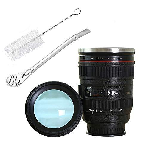 HEMCER Kameraobjektiv-Kaffeetasse mit Saugnapf auf Unterseite, Becher Tasse mit Deckel-Edelstahl-Trommel-Schale Auslaufsicherer breiter Mund - cooles Geschenk EF 24-105mm f/4L IS USM Objektiv Look
