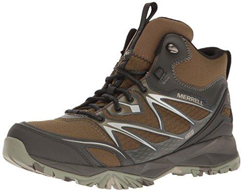 Merrell Men's Capra Bolt Mid Waterproof Hiking Boot, Dark Olive, 7.5 M US Mid Dark Olive