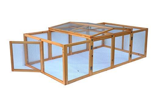 Cage enclos clapier XXL à Lapins lièvre cobaye | (L x l x H) : 200 x 123 x 53 cm - Pliable - Nature