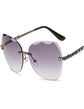 Gafas De Sol Sin Marco Gafas De Sol Retro Lady Ocean Glasses,Gray