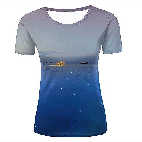 WEIYI BO Women T-Shirt 3D Digital Pinted Exotic Resort Boat Light Crewneck Casual Tee Shirt Tops M (Womens Alice T-shirt Light)