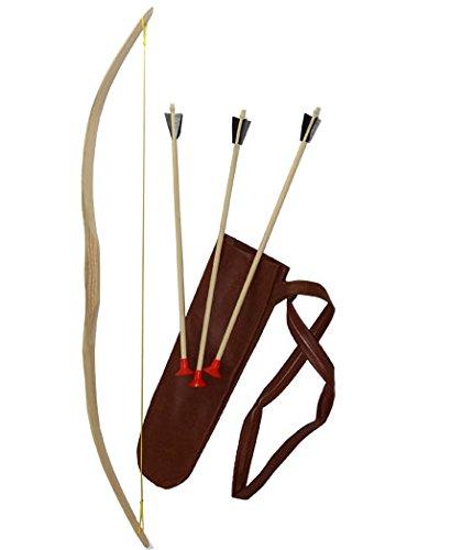 Mini-bogen Set: Bogen Esche 90 cm mit Köcher aus Kunstleder 40cm und drei Pfeilen