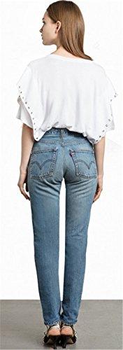 Moda Eyelet Metal Ring con Maniche a Pipistrello a Maniche Corte T-Shirt Maglietta Tee Top Bianco