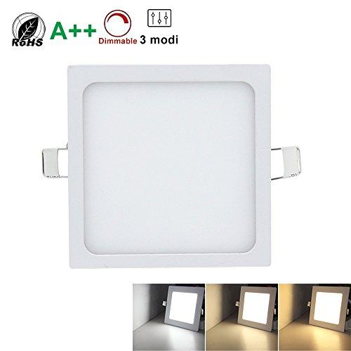 Hengda® LED Quadratisches Deckenleuchten,Super hell mit Trafo, Eckig Panel Deckenleuchte Einbauleuchte Downlight,3 Farbtemperaturen, AC 86-265V,für Garderobe Schlafzimmer (Eckig 24W)