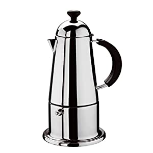 GAT Carmen - Stove Top Espresso Maker - Induction Suitable - Stainless Steel with Black Handle and Knob - Various Sizes