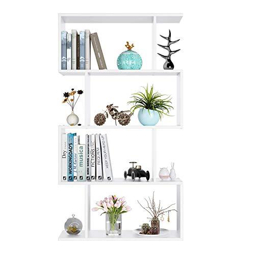 homfa scaffale libreria in legno libreria ripiani mobile decorativo per soggiorno o ufficio in legno bianco (128)