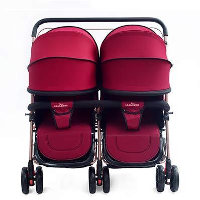 DQZLFYH Zwillingskinderwagen kann sitzen stützender Spaziergänger faltender Leichter Schock Zwillingskinderwagen,C