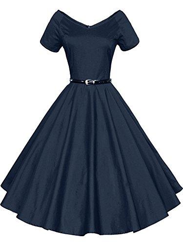 Gigileer Damen Vintage V-Ausschnitt Schwingen Rockabilly Ballkleid Kleider Cocktailkleid Navy XL