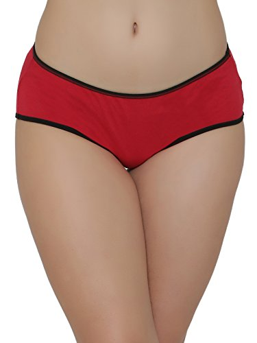 Clovia Women's Cotton Mid Waist Hipster Panty (PN2486P04_Red_Large)