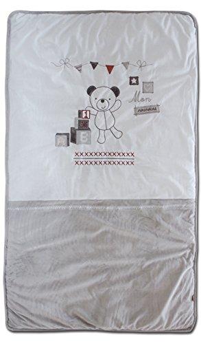 Les Chatounets Couvre Lit Motif Ourson Blanc/Gris 80 x 140 cm