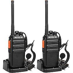 Retevis RT24 Talkie Walkie PMR446 sans Licence Professionnel 16 Canaux Scan Surveillance Radio Bidirectionnelle CTCSS/DCS avec Chargeur Européen et Écouteurs (Noir,1 Paire)