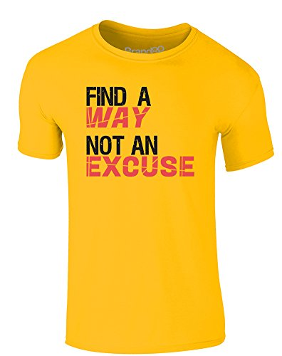 Brand88 - Find a Way, Not an Excuse, Erwachsene Gedrucktes T-Shirt Gänseblümchen-Gelb/Schwarz