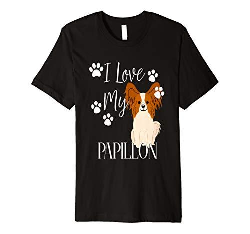 Papillon Hund Shirt I love my pet Cute Puppy