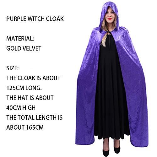 qys Halloween-Umhang Cosplay Weihnachtskostüm Langer Mantel des Todes Zauberer Hexe Prinz Prinzessin Umhang(Purple,165cm)