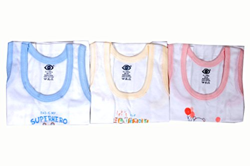 Gurukripa New Born Baby Zero Kids Inner Wear Baniyan 0 To 3 Month &Pack Of 3 Pcs Zero Unisex 100% Cotton