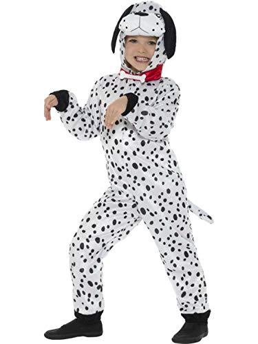 Luxuspiraten - Kinder Jungen Mädchen Kostüm Plüsch Dalmatiner Hund Dog Fell Einteiler Onesie Overall Jumpsuit, perfekt für Karneval, Fasching und Fastnacht, 140-152, Weiß