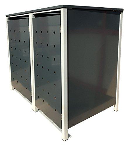 BBT@ | Hochwertige Mülltonnenbox für 2 Tonnen je 240 Liter mit Klappdeckel in Grau / Aus stabilem pulver-beschichtetem Metall / Stanzung 1 / In verschiedenen Farben sowie mit unterschiedlichen Blech-Stanzungen erhältlich / Mülltonnenverkleidung Müllboxen Müllcontainer - 2
